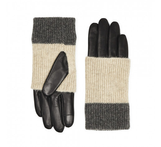 MarkBerg Helly Leather Gloves - Black with Grey Mix