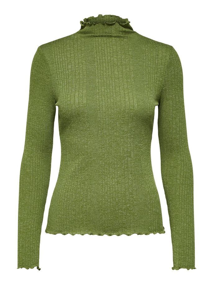 Selected Femme Frill Neck Fine Knit - Green Twist of Lime
