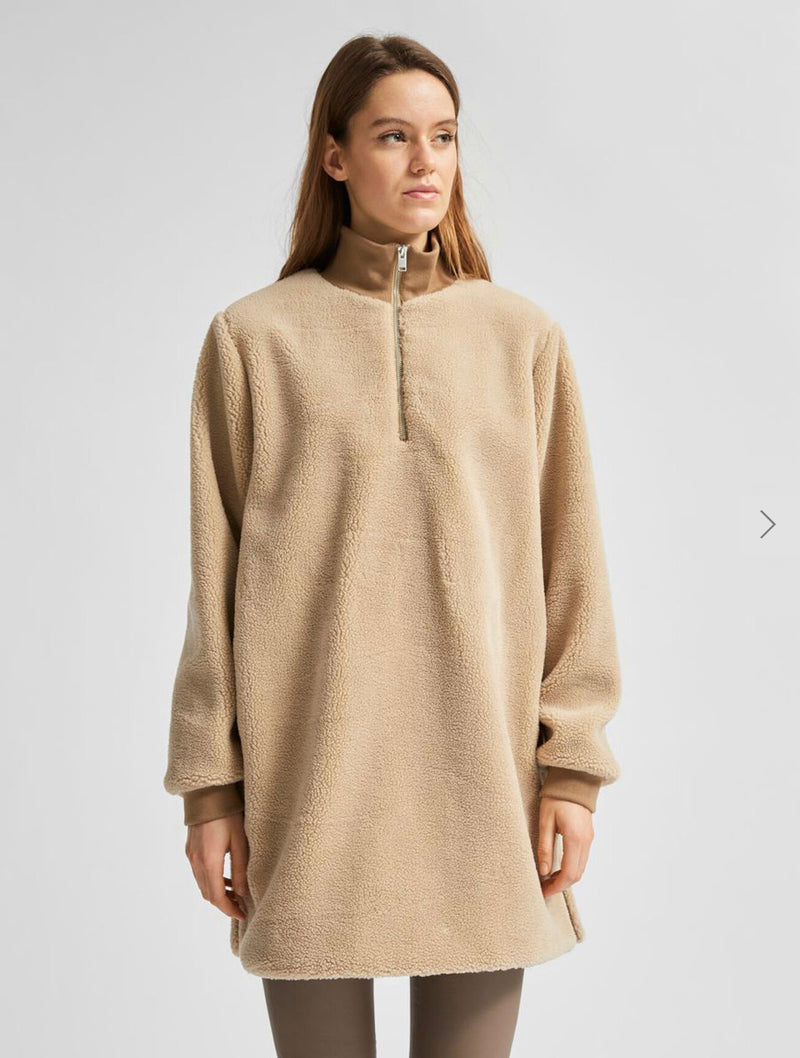 Selected Femme High Collar Teddy Dress - Camel