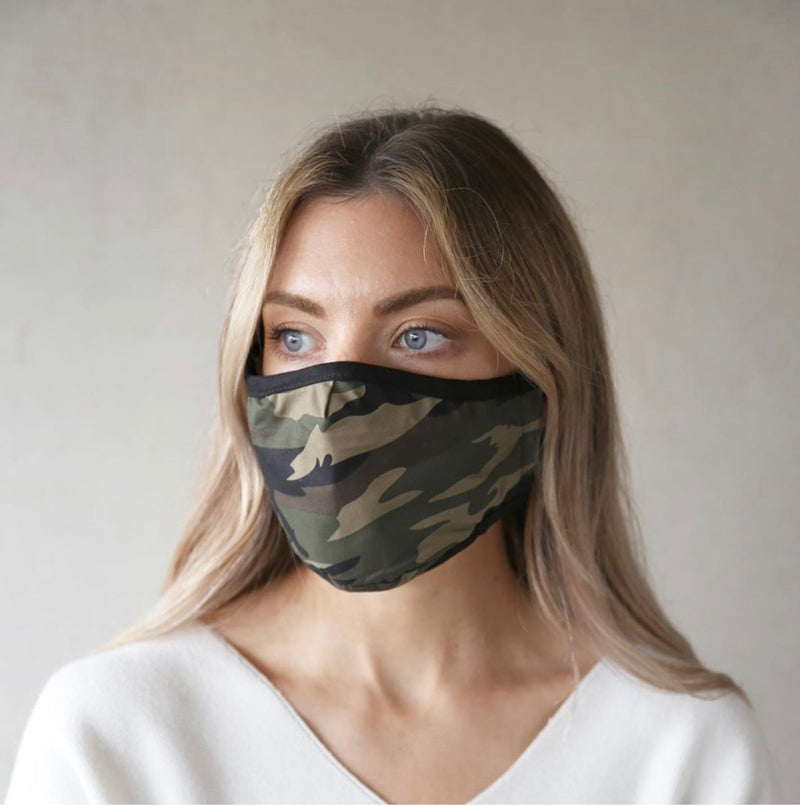 Breathe And Protect Organic Cotton Face Mask - Green Camo