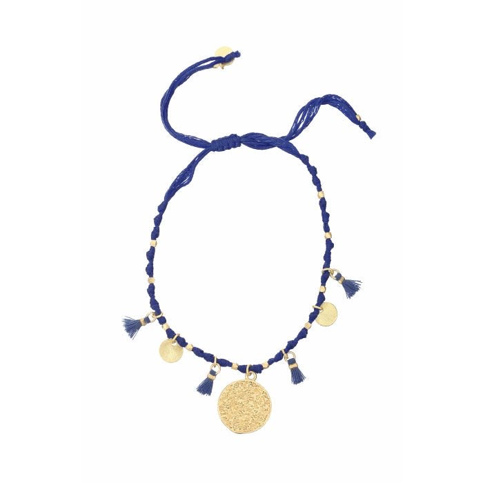 Ashiana London Mireya Knotted Disc Bracelet in Navy