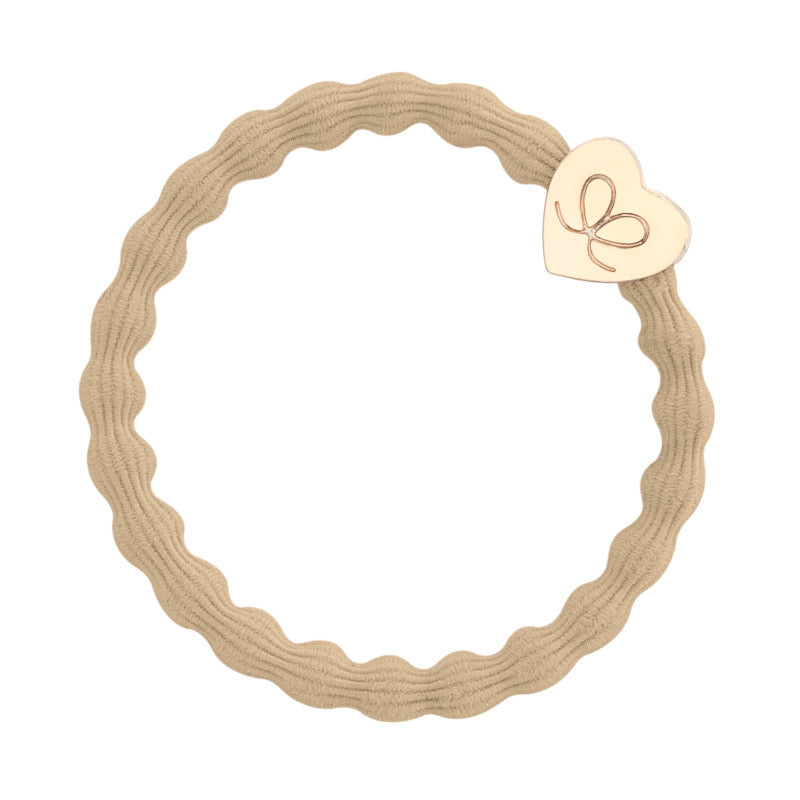 By Eloise Gold Heart Hair Band - Sand