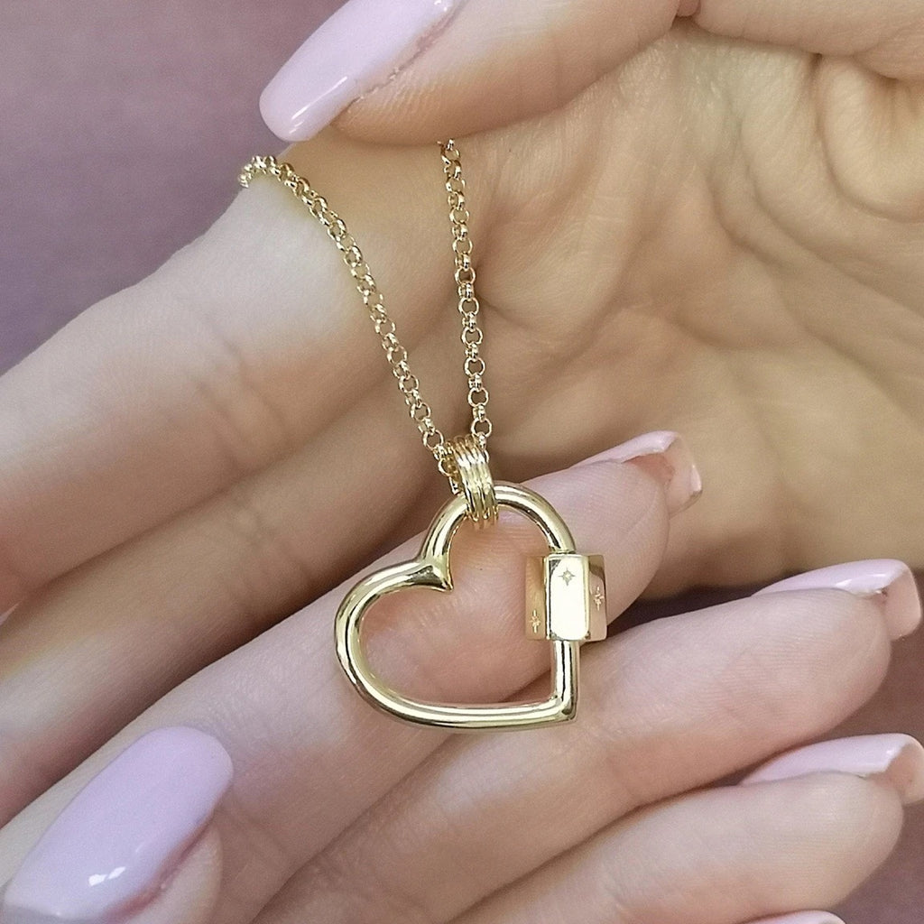 Scream Pretty Heart Carabiner Charm Collectors Necklace - Gold Plated