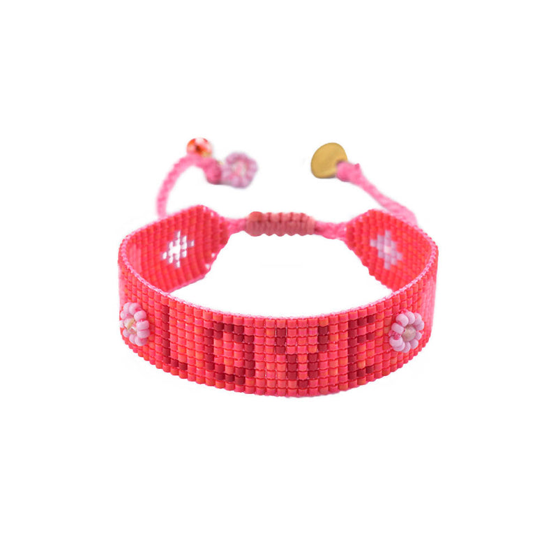 Mishky Love Beaded Bracelet - Red Pink