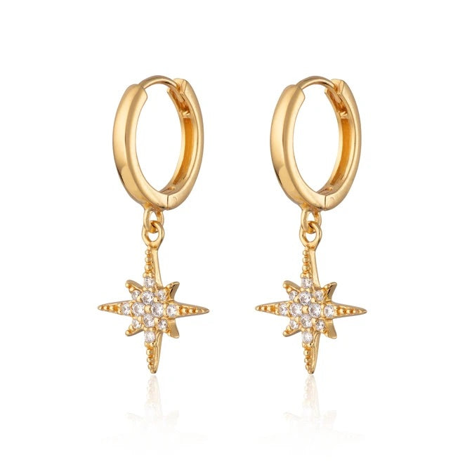 Scream Pretty.  Starburst Hoop Earrings.  Gold
