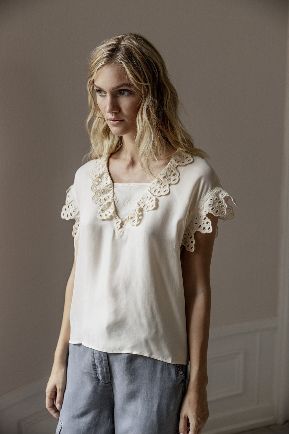 Project AJ Havin Lace Blouse - Chalk