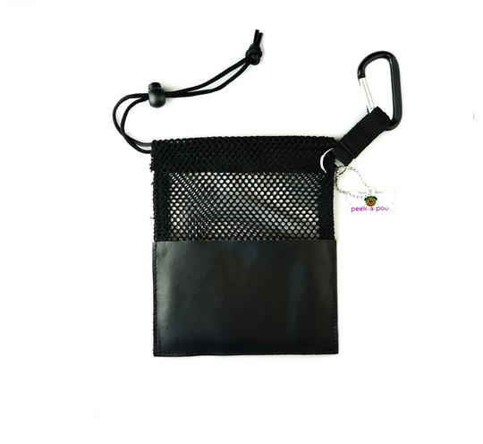 Black Small Peek A Poo - Handy Mesh Carry All, for Dog walkers