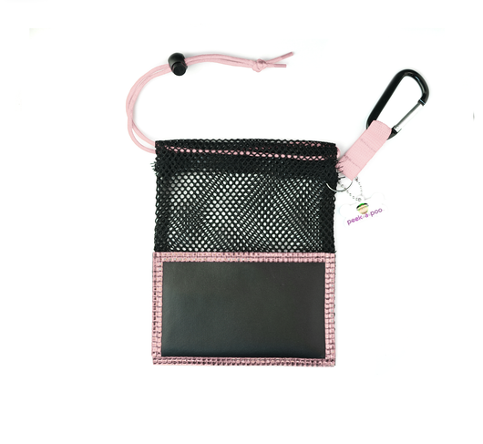 Pink Small Peek A Poo - Handy Mesh Carry All, for Dog walkers