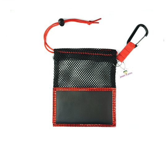 Red Small Peek A Poo - Handy Mesh Carry All, for Dog walkers