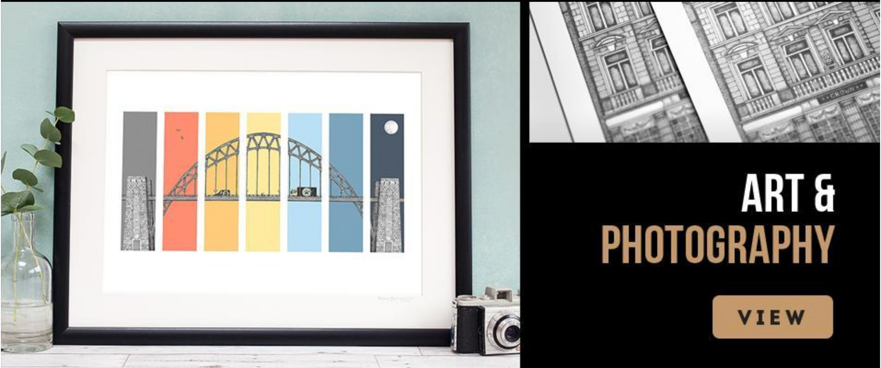 newcastle artwork and photography, unique drawing of north east landmarks. Black and white framed prints
