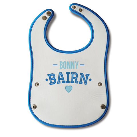 bonny bairn funny geordie baby bibs blue design with crumb or food catcher. Newcastle bib designed by geordie gifts. Northeast gifts for tourists