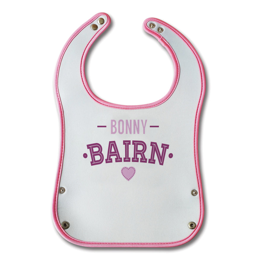 bonny bairn funny geordie baby bibs pink design with crumb or food catcher. Newcastle bib designed by geordie gifts. Northeast gifts for tourists