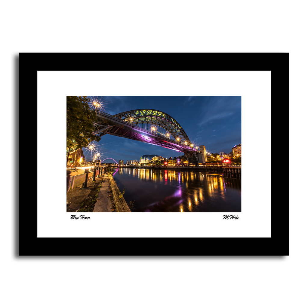 the river tyne and tyne bridge, newcastle quayside at night time high quality photo framed artwork print taken by matt hale northeast photography