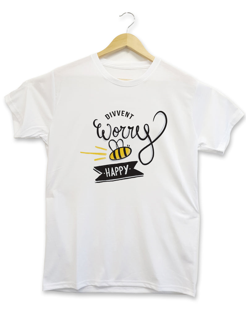 Divvent worry bee happy custom made t shirt geordie gifts made in newcastle upon tyne, grainger marking clothing range merch