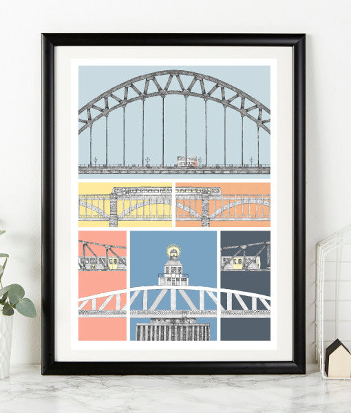 gannin hyem newcastle bridges of the tyne bold colourful print. Illustration by ben holland geordie gifts northeast landmarks framed artwork print
