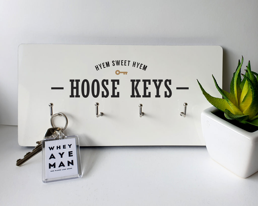 hyem sweet hyem - hoose keys. geordie wall plaque key hanger house key keep safe. Newcastle presents