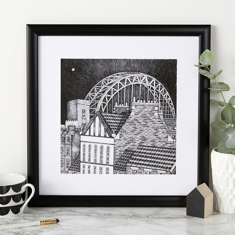 Beautiful illustration, hand drawn pen & ink print of the Tyne Bridge. Newcastle landmark frames, Black & white FREE UK DELIVERY