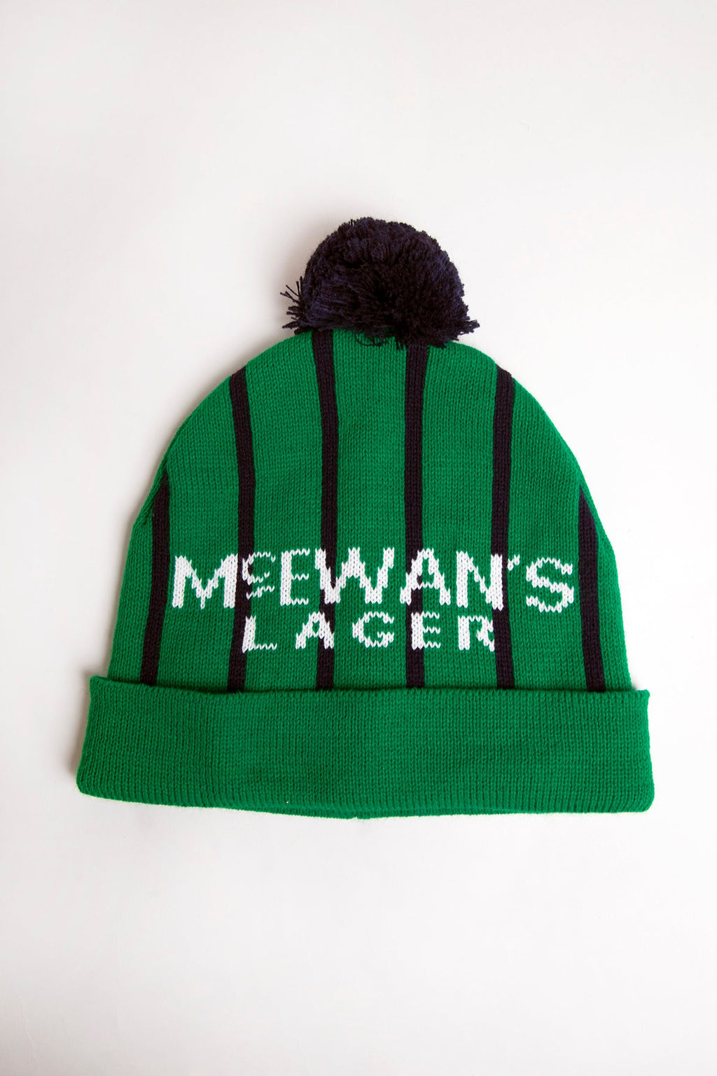 mcewans lager newcastle united 1994 green striped andy cole football strip inspired geordie wooly bobble hat newcastle hats