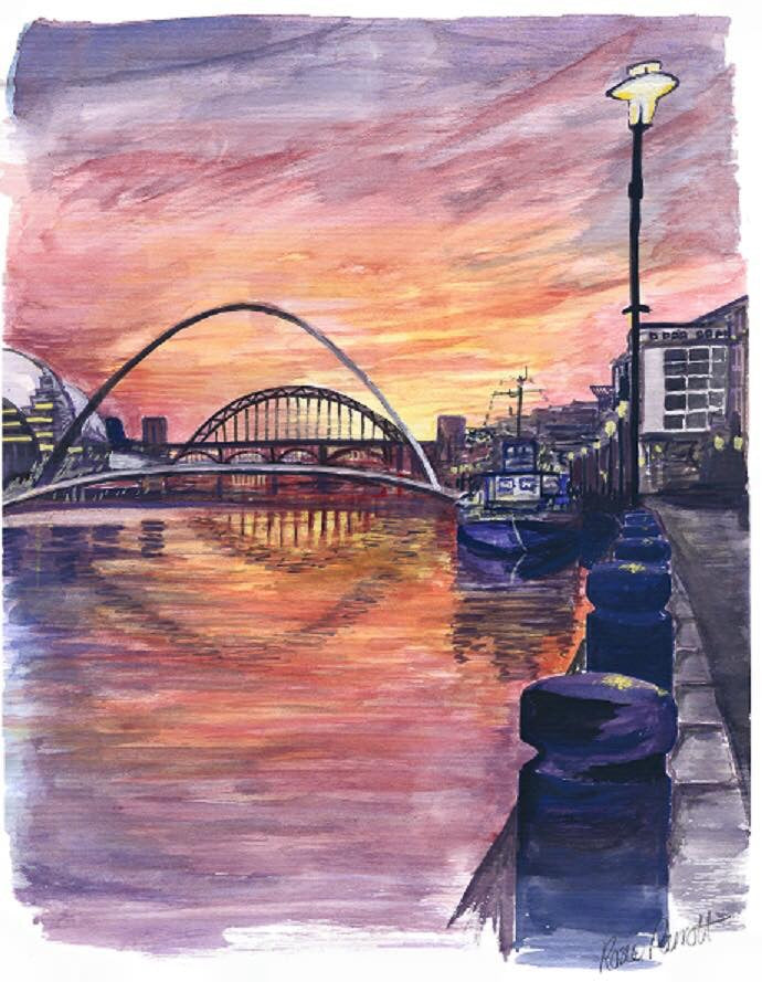 Rosie Parrott painting artwork of newcastle quayside. Sunset reflection of the river tyne, millennium bridge, tyne bridge, gateshead sage. North East prints
