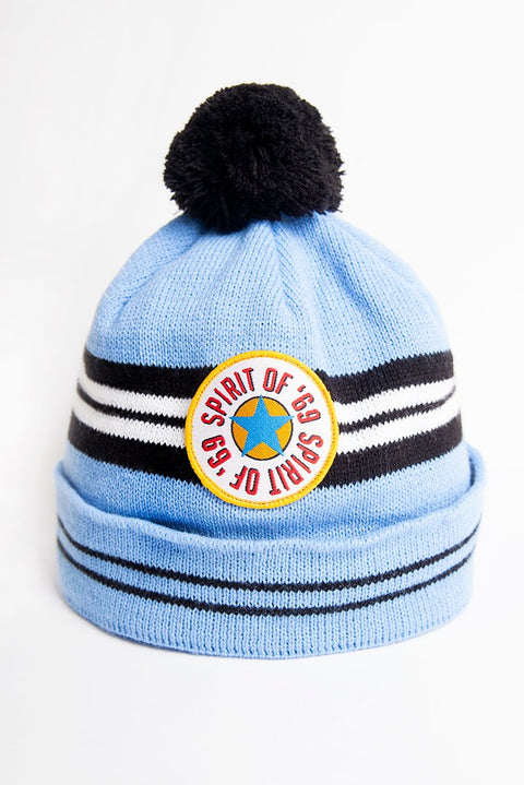 1996 newcastle united blue away strip inspired nufc wooly bobble hat. Brown ale badge replica with spirit of 68. Perfect gift for a toon fan. northeast gifts