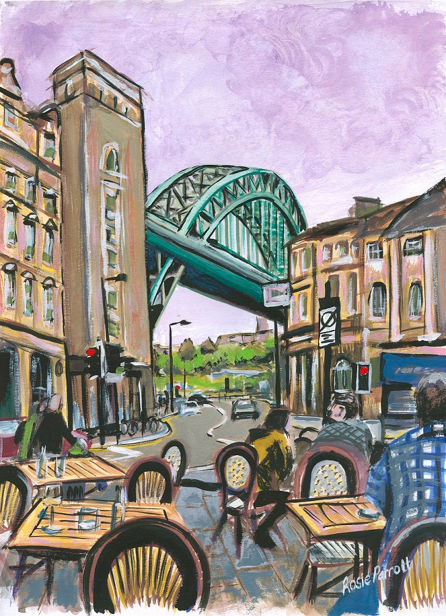 tyne bridge painting view from the red house pub newcastle upon tyne artwork by rosie parrott