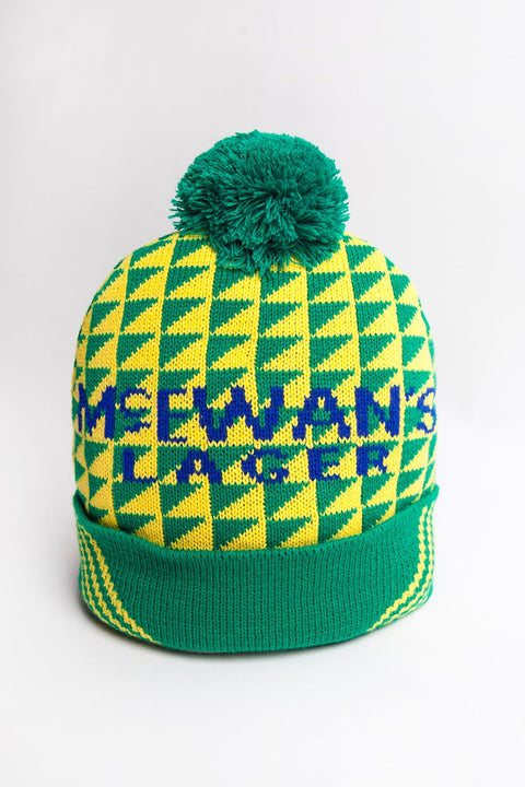 mcewans lager newcastle united 1991/1992 green and yellow football kit. Worn by Liam O'Brien inspired geordie wooly bobble hat for a nufc toon fan
