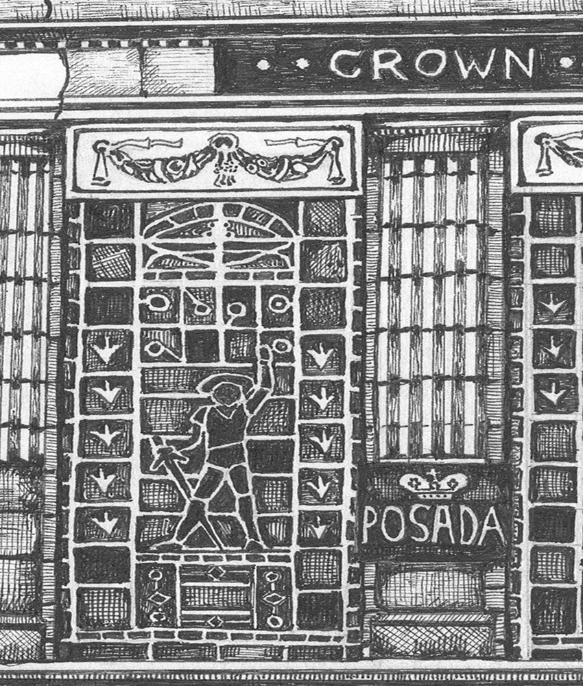 crown posada newcastle pubs artwork print