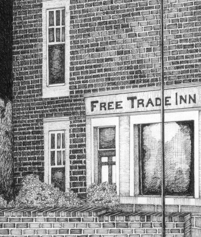 close up free trade in newcastle pub black and white print artwork