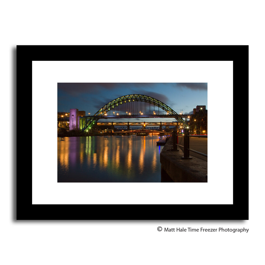 newcastle quayside at night stunning unique photography framed prints. Tyne Bridge & River tyne reflections