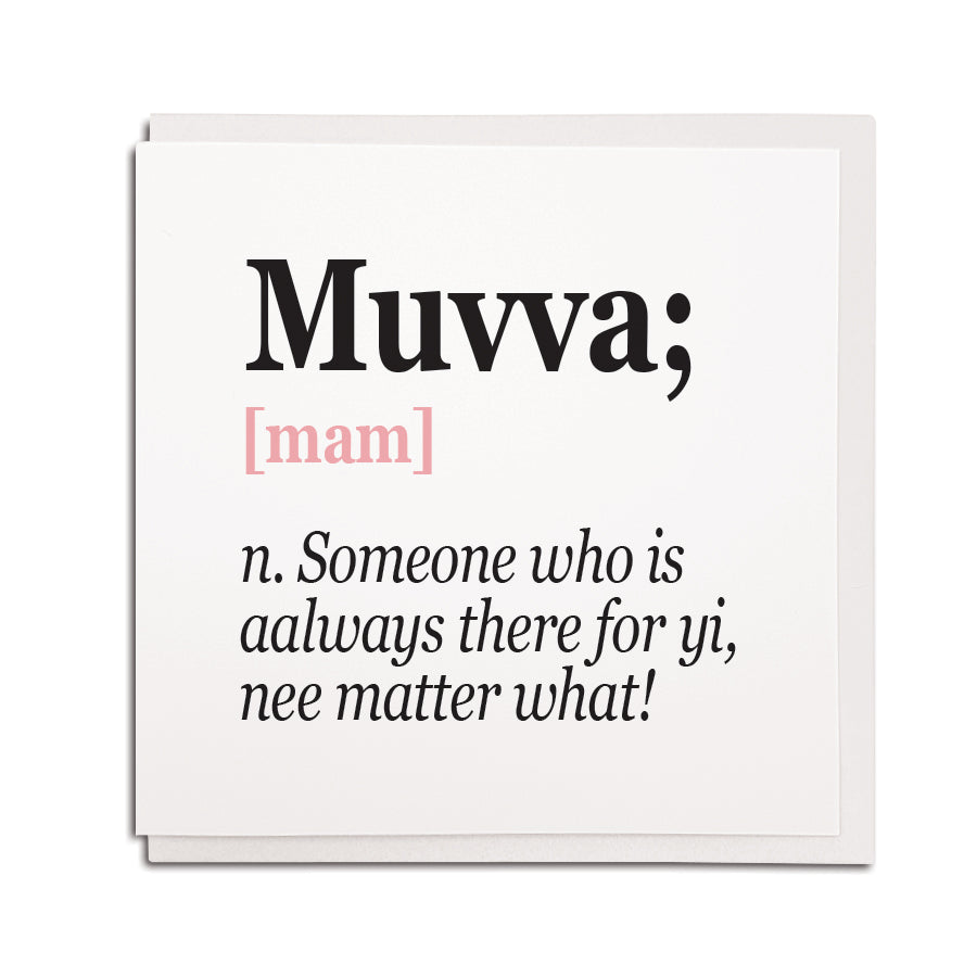 Muvva noun meaning of Mam geordie newcastle mother card for birthday