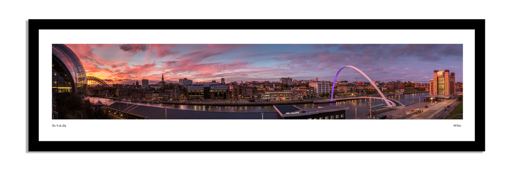 newcastle sunset quayside panoramic framed artwork prints of northeast photography. Newcastle local landmarks and bridges over the river tyne by matt hale and geordie gifts