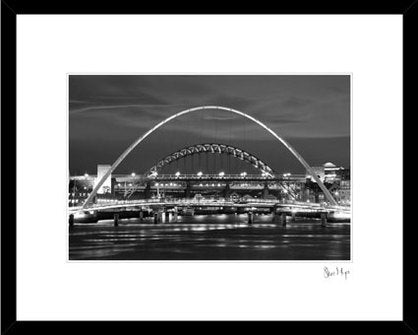Stunning Photo looking up the River Tyne at Newcastle Iconic Bridges. Tyne Bridge, Millennium Bridge, Quayside.