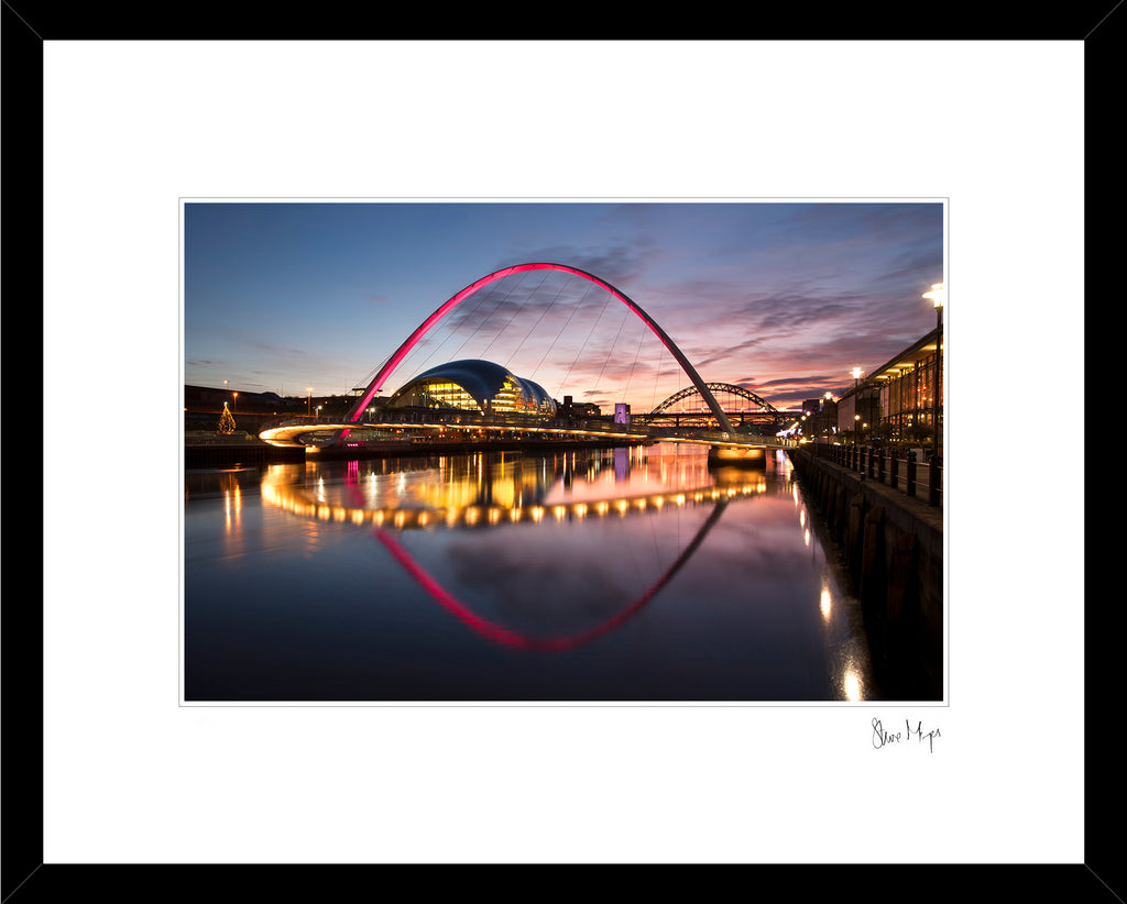 newcastle quayside sunset tyne bridge, millennium bridge, rive tyne framed artwork photography print