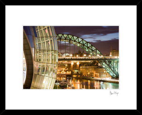 newcastle quayside at night. sage tyne bridge photography framed print by steve mayes