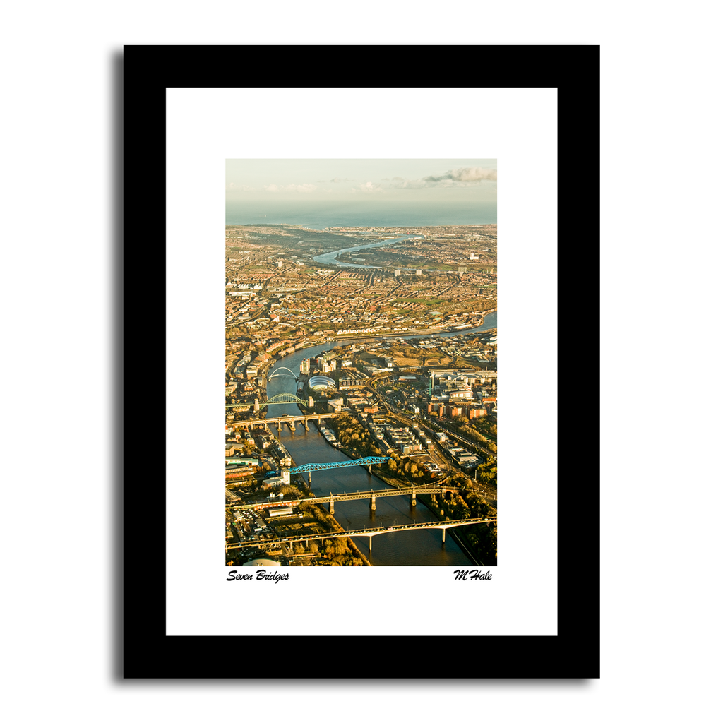 7 bridges across the river tyne shot from a helicopter Birdseye view newcastle quayside creative photo artwork framed prints northeast photography