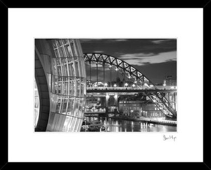 Newcastle Quayside at night photography. Sage, Tyne bridge black & white framed print