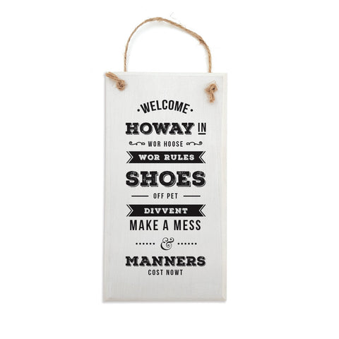 welcome howay in geordie house plaque newcastle sign. Funny newcastle home gifts and decoration