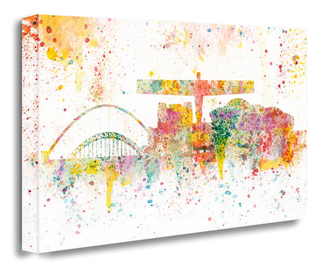 newcastle north east landmarks abstract artwork colourful paint splash canvas