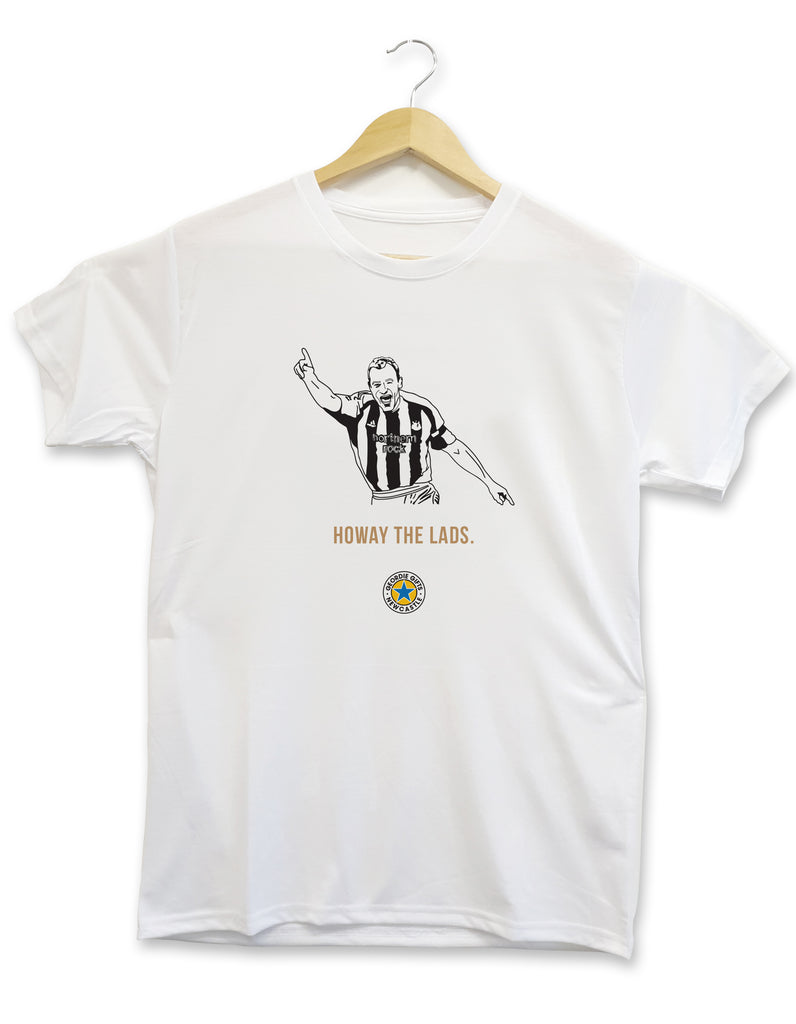 T-shirt design displaying a hand drawn illustration of Newcastle United legend Alan Shearer celebrating his final goal for the club, scored against Sunderland in a 4-1 victory. This t-shirt also contains the phrase 'howay the lads' a popular saying used by Toon army supporters.