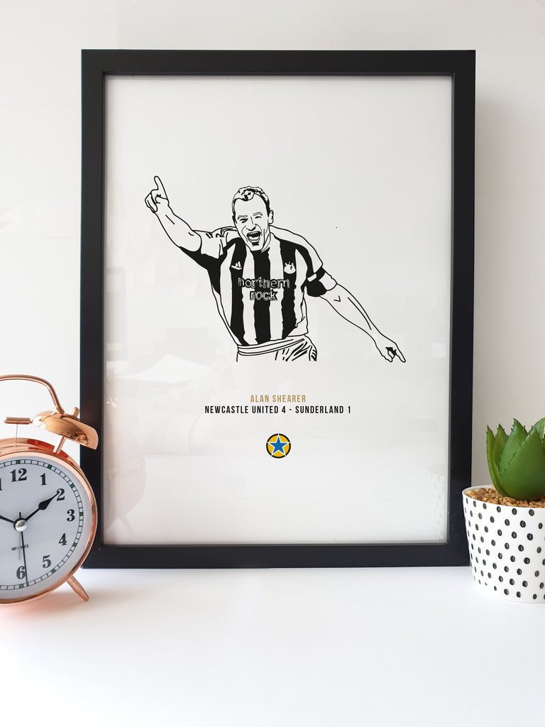 alan shearer black and white hand drawn illustration print celebrating his final ever newcastle united goal against sunderland in a 4 1 victory