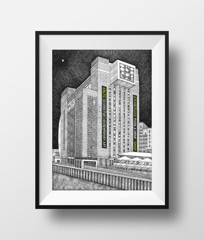 Beautiful Black & white illustration, hand drawn pen & ink print of the Baltic Flour Mills. Newcastle landmark frames FREE UK DELIVERY