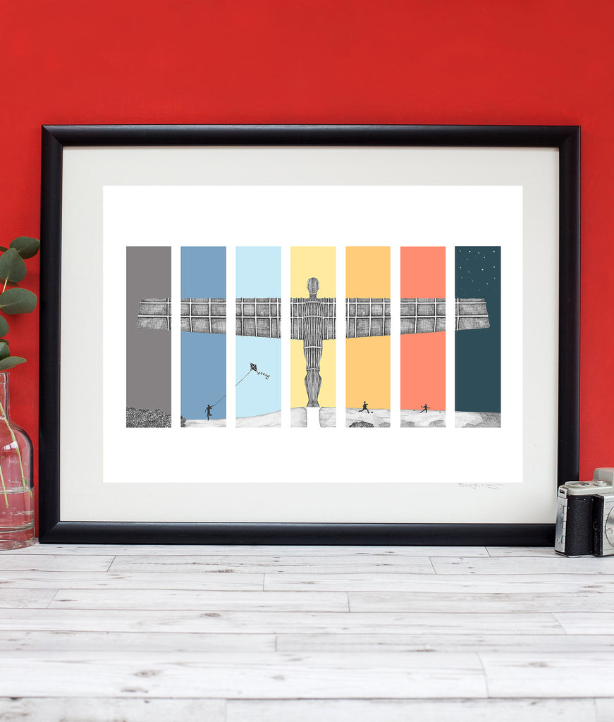 framed newcastle landmark artwork. Hand drawn illustration of the Angel of the North by Ben Hollan