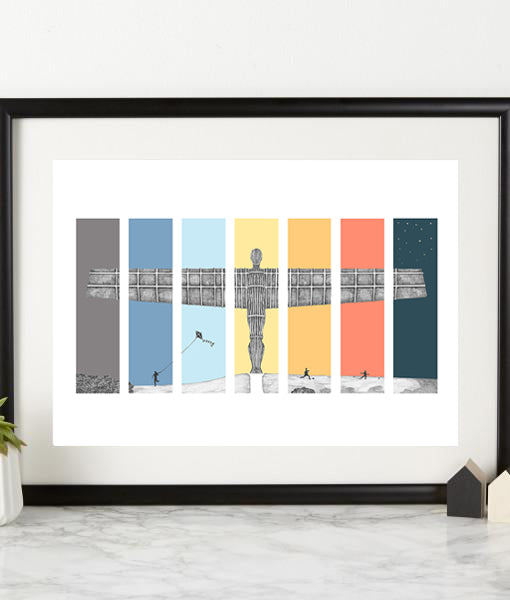 angel of the north 7 colours by ben holland. Newcastle north east landmark illustrations