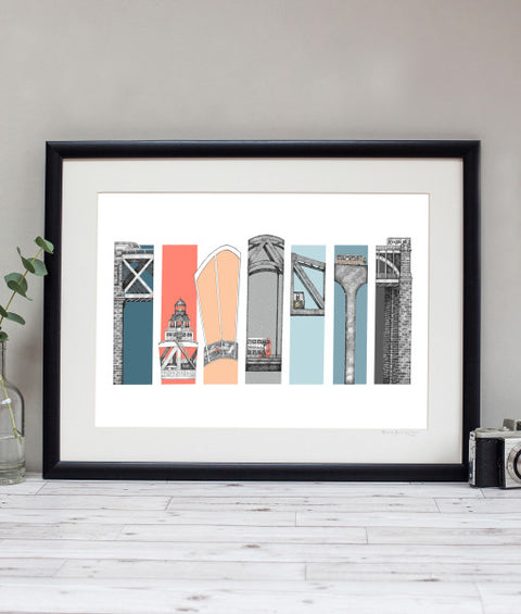 7 bridges across the river tyne. Colourful pen & ink illustration by Ben Holland. Famous newcastle landmark bridges art photos