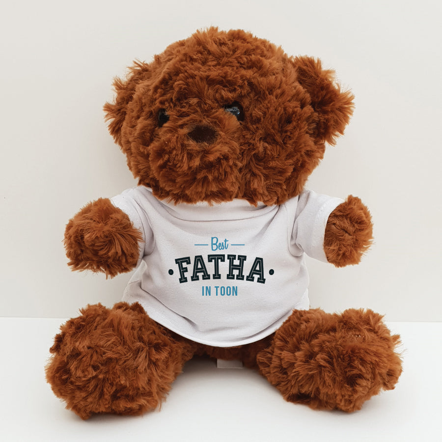custom printed handmade Geordie teddy bear designed & made in Newcastle upon tune. Teddy bear t shirt reads Best fatha in Toon. perfect Father's day gift for a Geordie dad