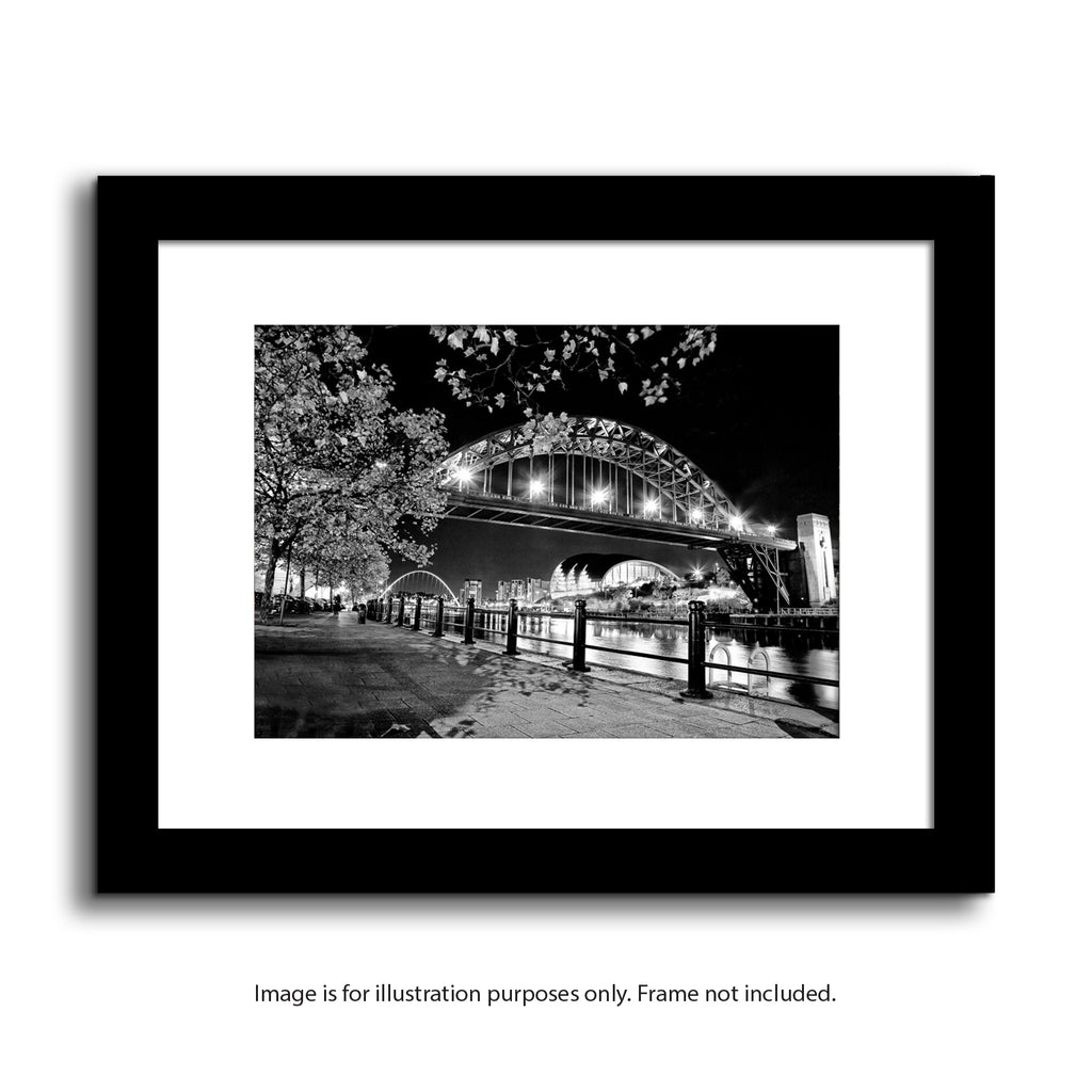 newcastle tyne bridge at night. Quayside framed print, north east landmarks
