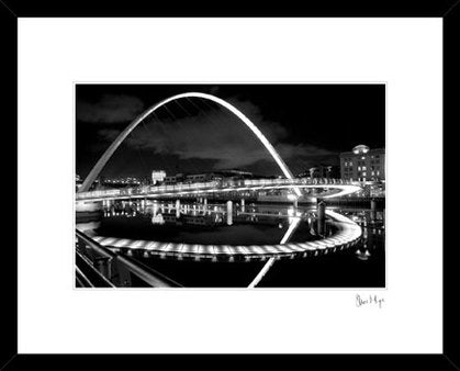 Millennium bridge newcastle photography. Black & white Geordie landmark prints