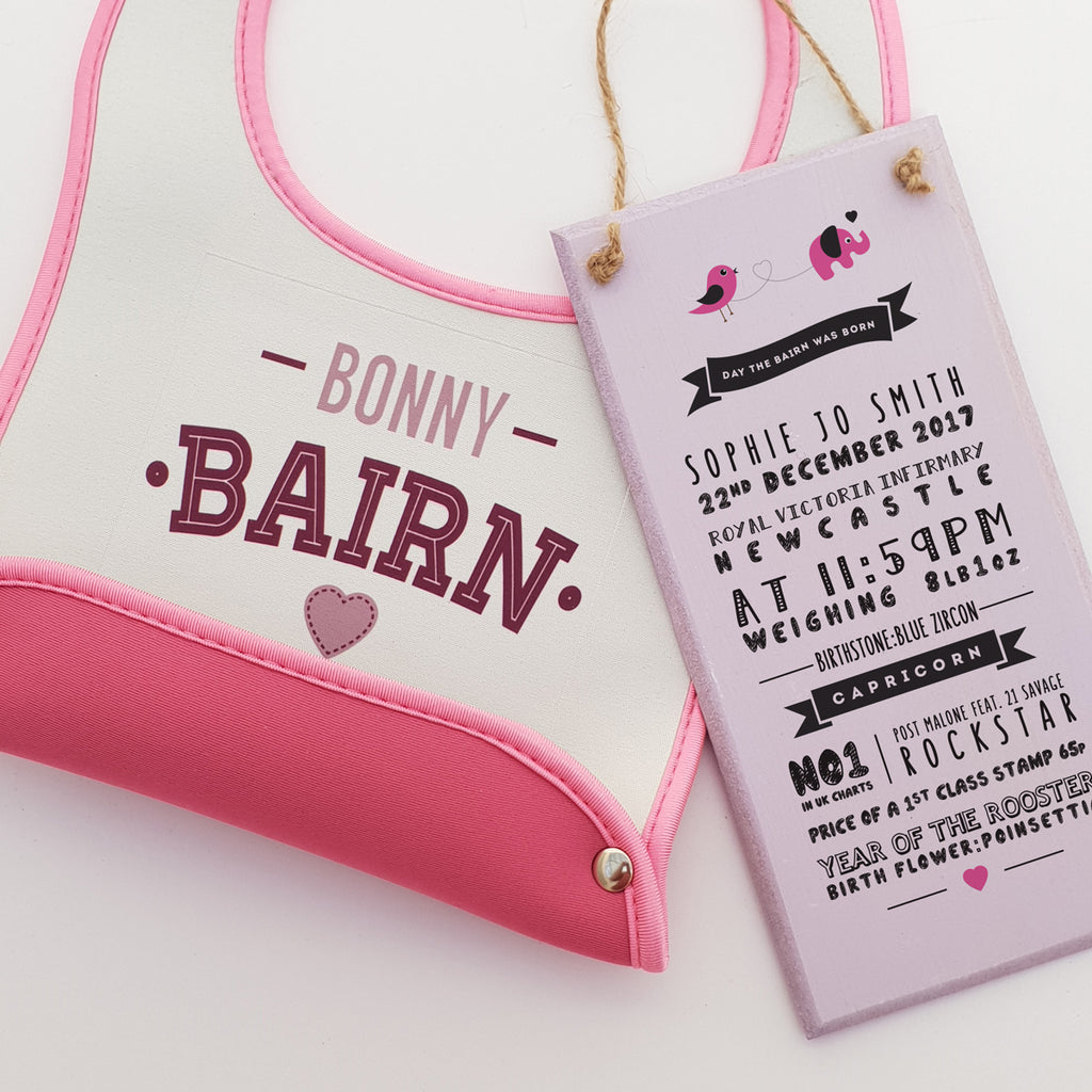 bonny bairn geordie phrase pink new born baby geordie bibs with crumb catcher. Day the bairn (baby) was born details print