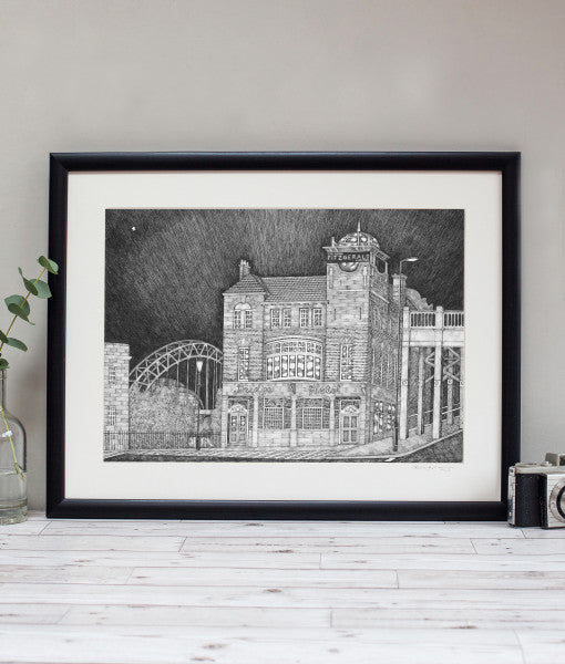 bridge hotel newcastle pubs illustrated by ben holland. Tyne bridge northeast landmarks geordie gifts framed artwork print