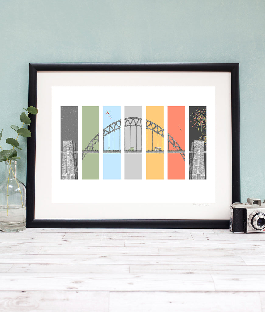 Tyne bridge illustration artwork. Bright coloured artwork perfect for any newcastle home. Ben Holland pen and ink drawing